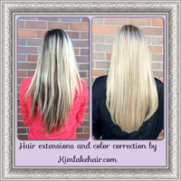Before and After long blonde hair extensions .