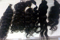 DIfferent textures of hair extensions.